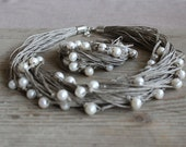 Pearl Jewelry Set / Wedding Jewelry Set / natural linen necklace and bracelet