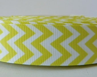 Yellow 22mm Chevron Grosgrain Ribbon