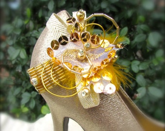 Wedding Shoe Clips Retro in gold