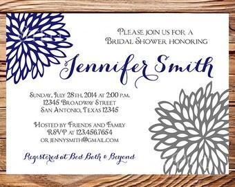Bridal shower Invitation,Silver, Navy Flower, Bridal Shower Invite, Wedding Shower, Wedding Shower, digital, printable file, 5148