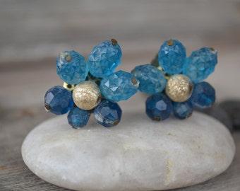 1950's Blue Beaded Clip on Earrings