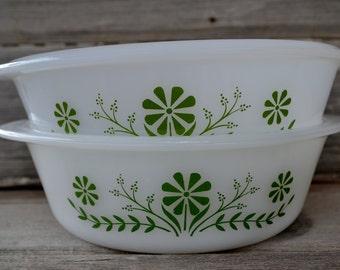 1970's Green Flower Glasbake Casserole Dishes