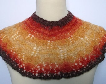 Adult women's hand knitted sparkly neck warmer. Yellow and orange. Fits all.
