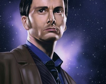 Doctor Who Tenth Doctor David Tennant Portrait Fan Art Prints and Posters