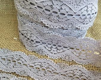 "Silver Grey Lace Elastic 1.75""  Lace Stretch Elastic 4.5cm wide elastic trim baby headband lace  garter lingerie  elasttic 3, 5, OR 10 yards"