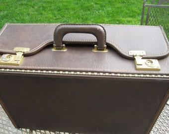 Vintage Large Brown Brief Case, Brown Luggage, Salesmen Sample Case, Faux Leather