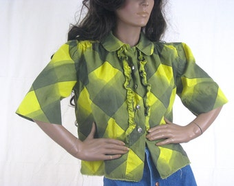 Vintage Ruffled Blouse, 1960s Blouse, 1950s Blouse, Silver Buttons, Concho Buttons, Plaid Shirt, Retro Clothing