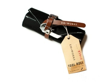Bike Tool Roll - Black with Brown Toe Strap