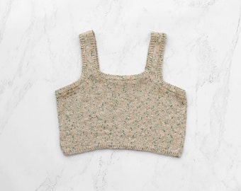 Summer cropped top - hand knitting limited edition white, beige, green and coral pastel tweed colors