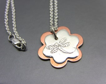 Sterling Silver & Copper Etched Dragonfly on Flower Necklace