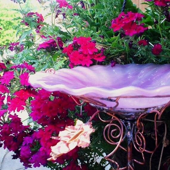 GARDEN BIRD BATH,  stained glass, copper, pink, 7 in. diameter, outdoor, lawn ornament, garden stake