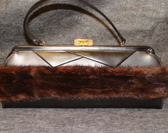 Vintage mid century Black Purse with mink fur trim Mad Men vintage Tower Chicago