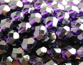 Tanzanite Purple Crystal Czech Glass Bead 6mm Round - 25 Pc