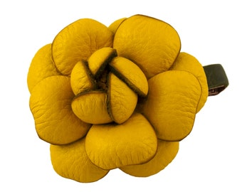 Leather flower hair clip, large