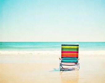 """Beach Photography - chair ocean colorful aqua blue orange red cream seashore photo wall print coastal, 8x10, 11x14 Photograph, """"Beach Chair"""""""