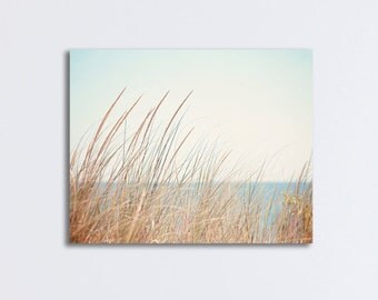 "Beach Grass Canvas, photography print blue brown beige large seashore wall art neutral decor coastal canvas gallery wrap, ""Shore Breeze"""
