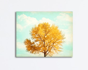 "Autumn Canvas Wrap Photography - fall photograph tree yellow gold decor orange blue mint teal large colorful wall art, ""Silence is Golden"""