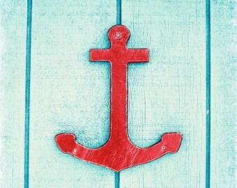 "Anchor Photography - nautical print blue red aqua boating photo sailing wall art seaside photo large coastal photograph, ""Anchor's Away"""