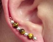 Tigers eye and silver ear sweep, ear vines, ear pins