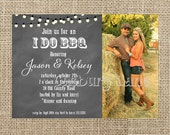 I Do BBQ Engagement Party-Country, Chalkboard,Lights and Mason Jar Invite -BBQ Invitation-Casbury Lane