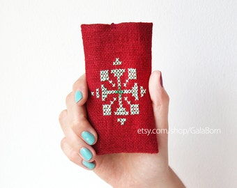 iPhone 5 5S 5C case - Phone case - Hand embroidery - Tribal - Mint - Dark red