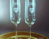 NEW Bride and Groom Toasting Flutes - Blooming Tree with Your Initials and Wedding Date