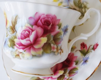 Royal Albert Teacup and Saucer, Pink and Yellow Roses
