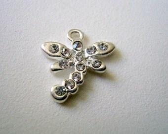 One Silver Plated Rhinestone Dragonfly charm