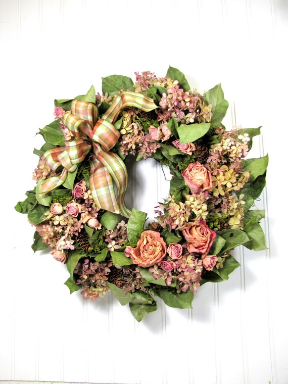 Dried floral wreath flowers hydrangea flower