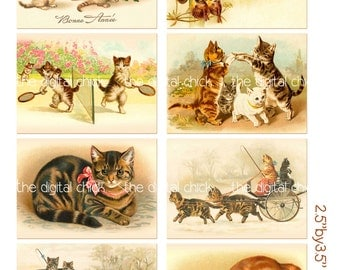 Digital Clipart, instant download, Vintage Kitten Images--Kitty Cat  Kittens Kitties--ACT ACEO--Digital Collage Sheet (8.5 by 11 inches) 472