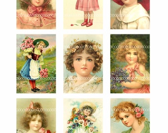 Digital Clipart, instant download, Vintage Ladies girls vintage illustrations child children--Digital Collage Sheet (8.5 by 11 inches)  1465