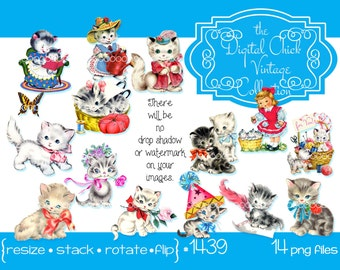 Digital Clipart, instant download, Vintage Kitten Images, kitty, cat, kittens, sewing basket, butterfly, tabby, angora, PNG files  1439