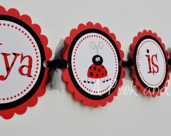 Red and Black Lady Bug Personalized High Chair Banner First Birthday Decoration