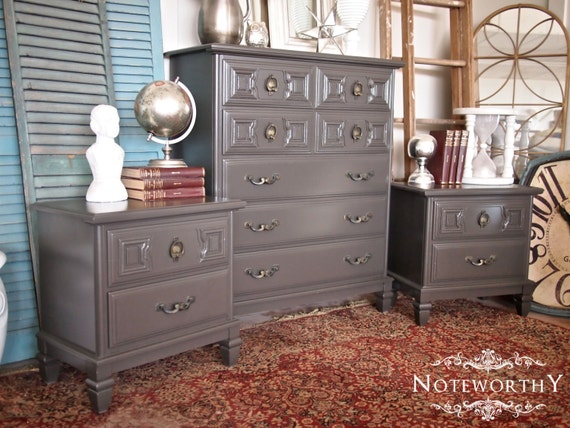 Items similar to Dark Greige Bedroom Set Dresser & Night
