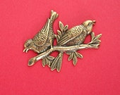 Birds on Branch Ox  Brass Stamping Ornament  Art Deco Antiqued Silver Jewelry Findings.