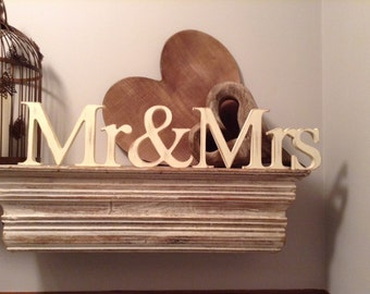 Wooden Wedding Letters - Mr & Mrs - 10cm - Georgian Font - joined, Free-standing