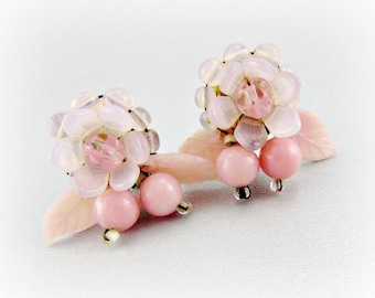Vintage Pink Glass Flower Earrings, WESTERN GERMANY, Pink Glass Beads, Floral Clip-on Earrings, 1950s Costume Jewelry, Antique Jewelry