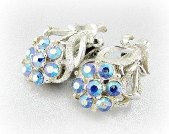 Vintage Silver Flower Earrings, Aurora Borealis Blue Rhinestone Earrings, Clip-on Earrings, 1950s Wedding Bridal Jewelry, Something Blue