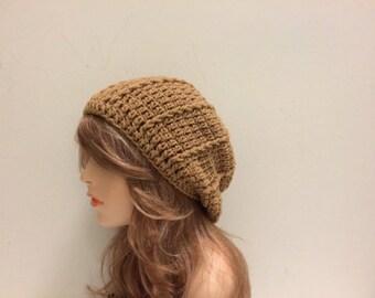 Crochet Slouchy Beanie - WARM BROWN