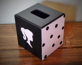 Tissue Cover-Silhouette-Pink and Black with  Polka Dots