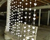"Wedding Curtain /  Paper Heart ""Curtain"" Garland / Curtain Backdrop / Wedding Reception Decor / Wedding Photo Prop / Ceremony Backdrop"