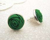 Leprechaun Green Earrings - Fabric Roses in Simple Silver Studs - Flower Girl