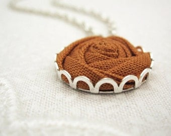 Autumn Necklace - Cinnamon Flower Necklace - Natural Bridesmaid Gift