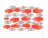 Barrier Spell . Print or Poster // Hands & Eyes Pattern Illustration