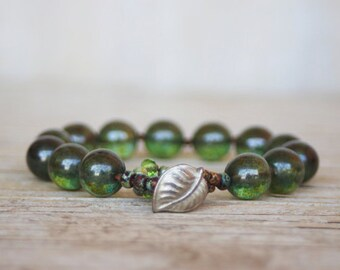 Beaded bracelet -  artisan boho - green luster pressed glass beads