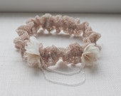 Wedding lace garter / Bridal accessory / Rose color lace garter / Chiffon flowers / Romantic accessory / Clear beads / Vintage style garter