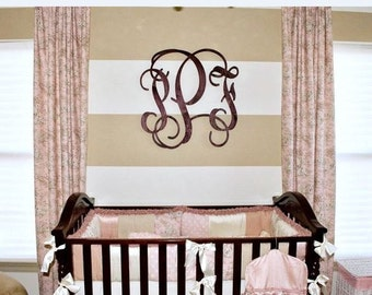 12 Inch Connected Wood Vine Script Monogram Letters - Perfect for hanging on a wall or added to a wreath and hanging on your front door.
