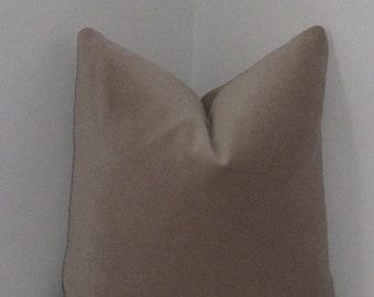 "Cotton Velvet in Sand Pillow Cover 18""x18"" - Decorative Pillow Cover - Invivisible Zipper"