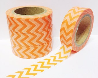 SALE Orange Chevron Washi Tape 11 yards 10 meters 15mm Classic Orange Chevron Classic Chevron Bright Orange Neon Orange