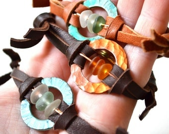 Leather Friendship Bracelet with beach found seaglass and Copper circle with deer skin adjustable band